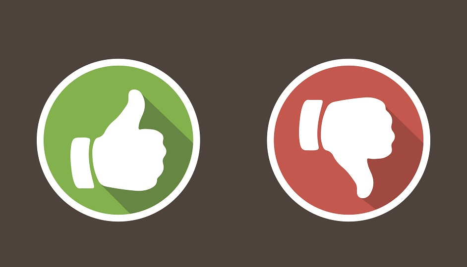 Thumbs up and thumbs down in flat style